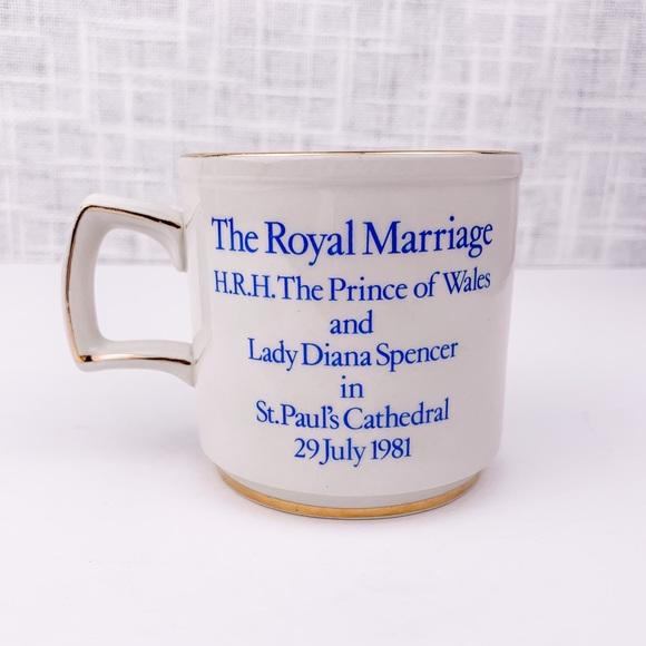 Vintage UK royal wedding gilded souvenir tea cup